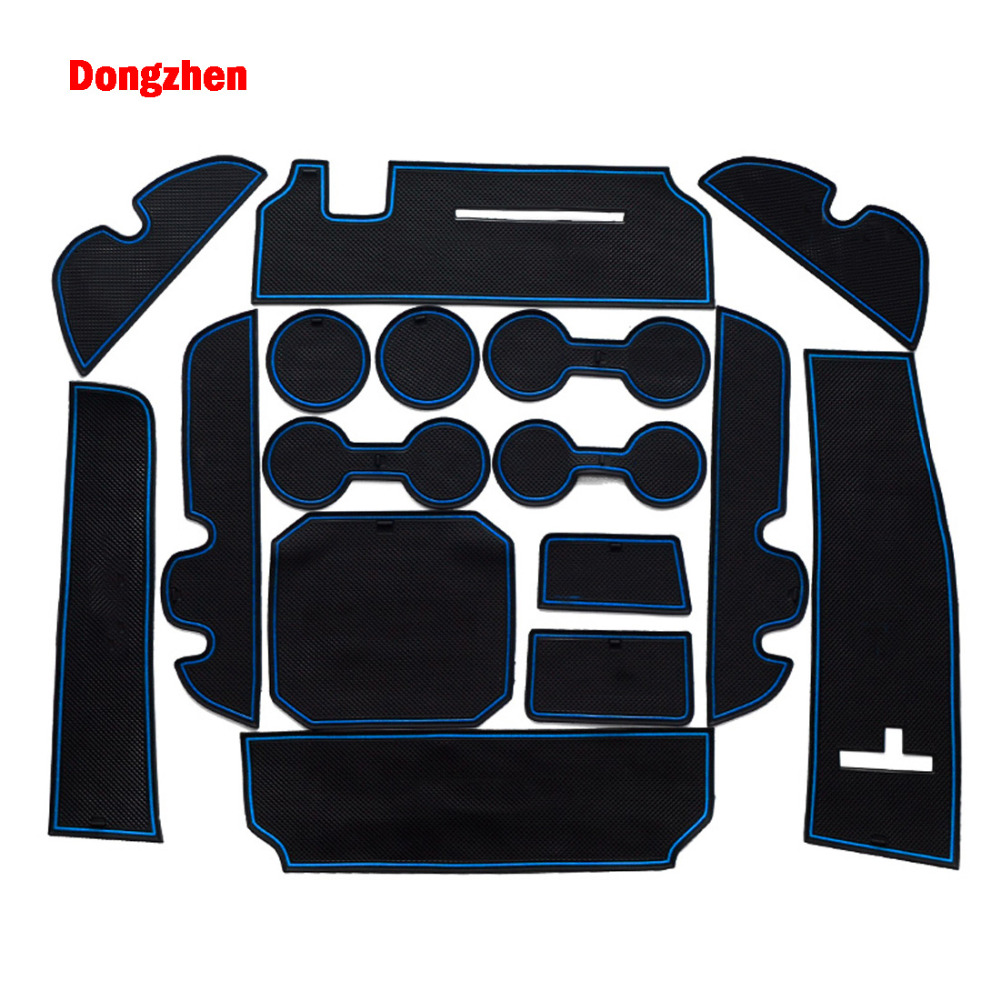 Dongzhen 16PCS Auto Car Interior Accessories Anti-slip Mat Silicone Pad Door Groove Pad Cushion For Toyota Highlander 2015
