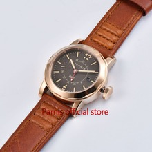 Fashion 43mm Mechanical Watch Men Parnis Automatic Watches Gold Case SeaGull Movement GMT Auto-Date Genuine Lether Wristwatch