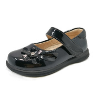 Cheap Price Flower Decoration Black School Shoes For Girls Kids Flat Foot Orthopedic Shoes