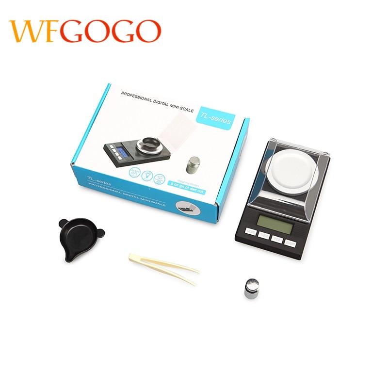Купить с кэшбэком WFGOGO Digital Milligram Scale 50 X 0.001g Reloading Jewelry Scale Digital Weight with Calibration Weights Tweezers and Weighing