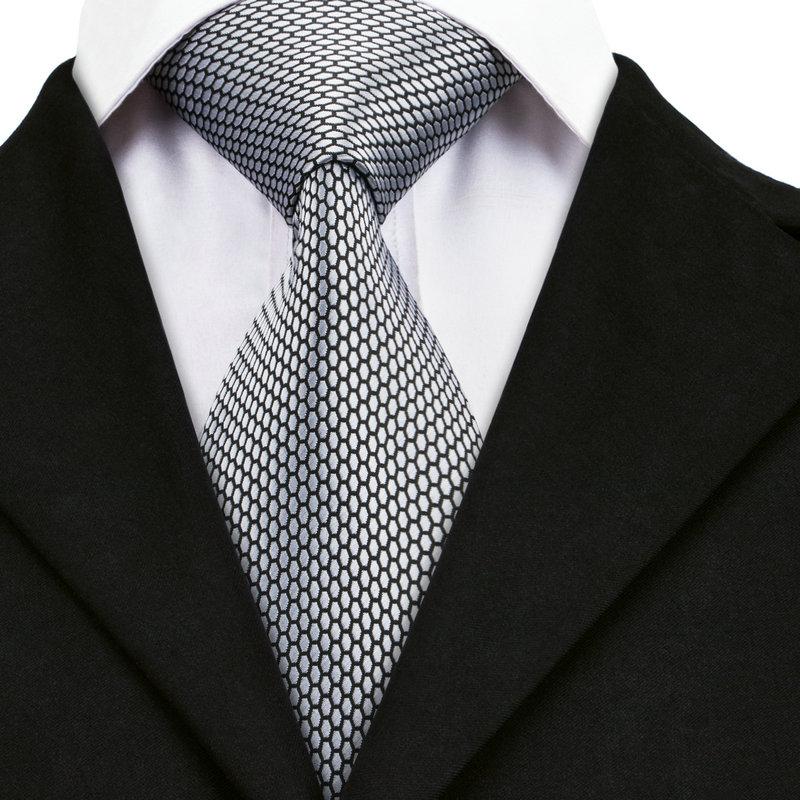 Classic Mens Tie Grey Novelty Silk Necktie Jacquard Woven Set Hi Tie SN-1536