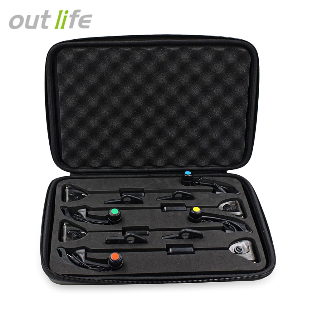 Outlife JY - SW- 15 4pcs/Box LED Carp Fishing Bite Indicator Alarm Hanger Fishing Swinger Set Fishing Bite Alarm with 2.5mm Plug wireless jy 19 sw fish fishing alarm bite set fishing alarms bells carp light for tackle rod fishing with lcd screen indicator