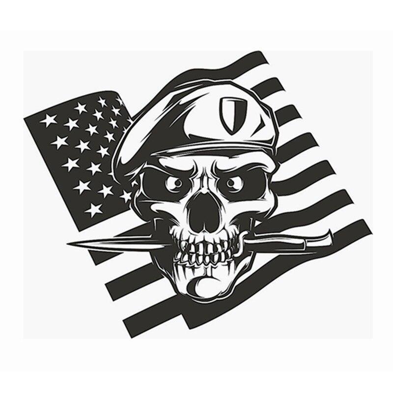 DCTAL Skull Dagger US Flag Soldier Sticker Punk Death