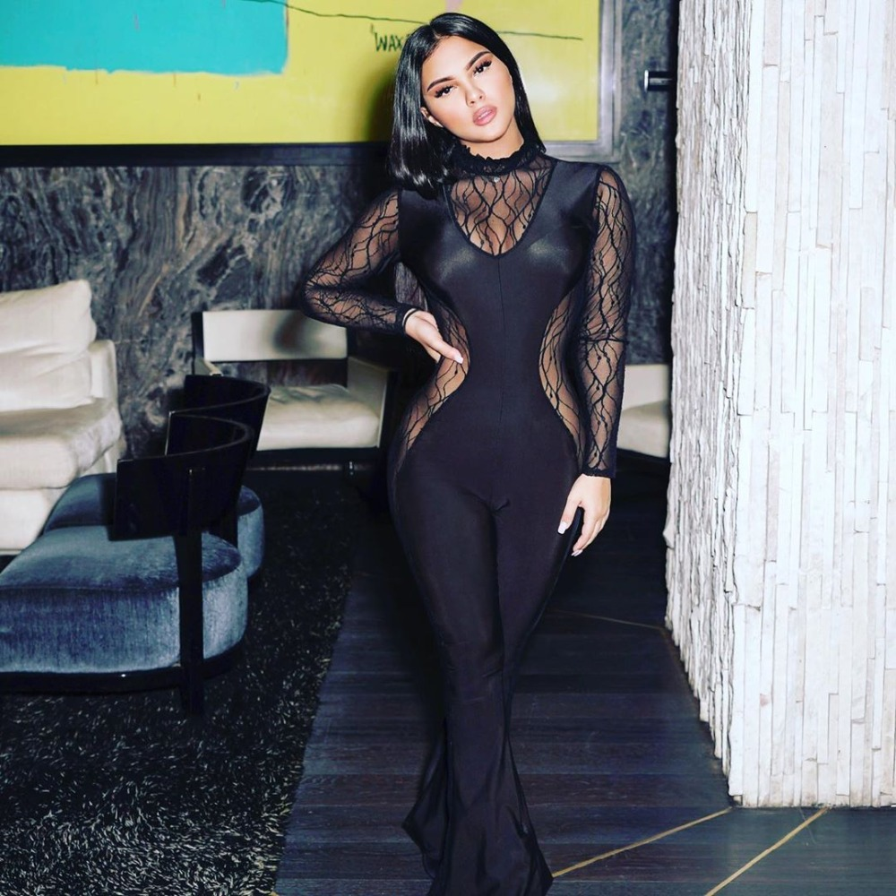 Echoine Sexy Sheer Mesh Lace Up Jumpsuit Long Sleeve Long Pants Bodycon Patchwork Party Clubwear Women
