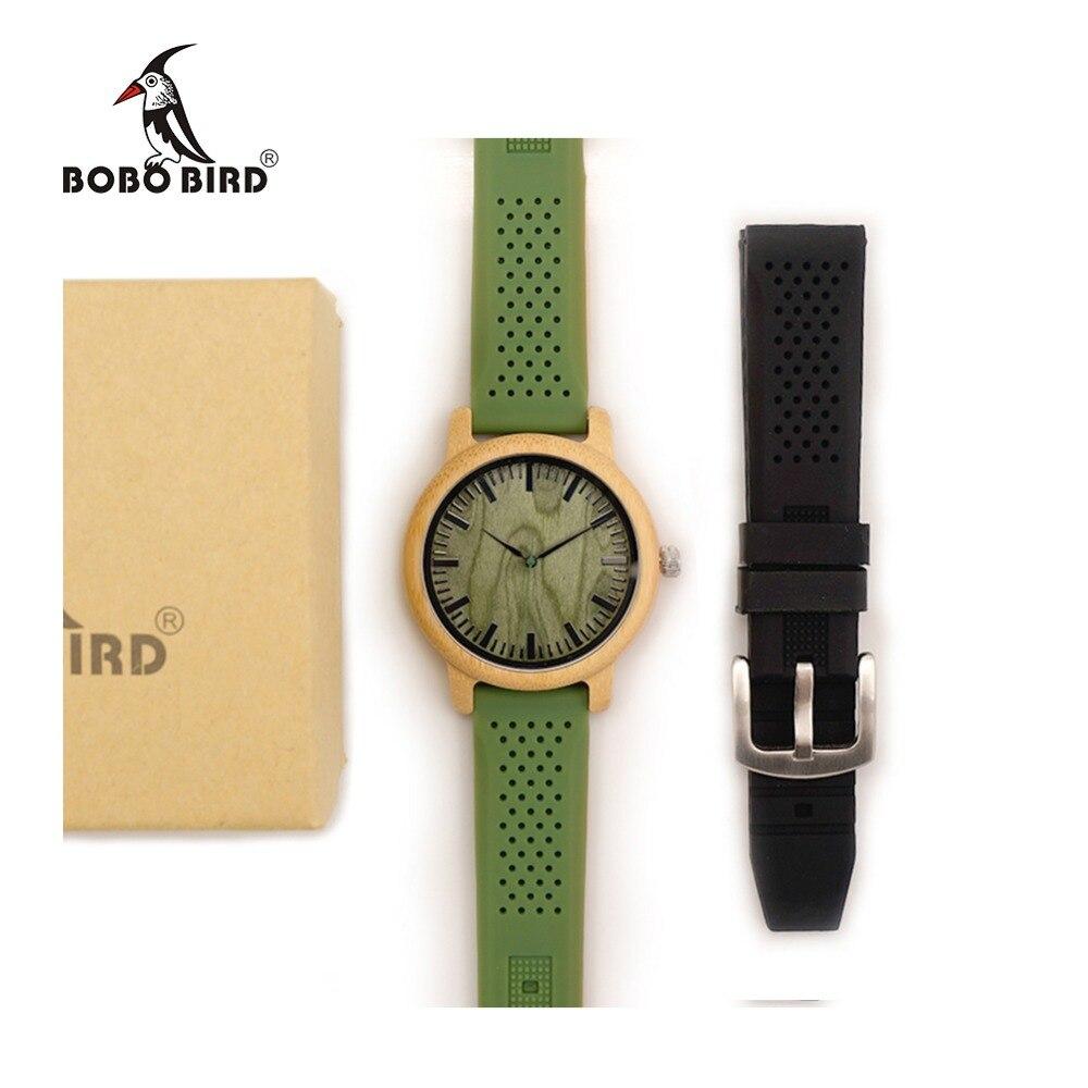 Prix pour Bobo bird bambou en bois montres pour hommes simple cadran en bois visage Quartz Montre avec Vert Bracelet En Silicone Bande Supplémentaire comme Cadeau avec boîte