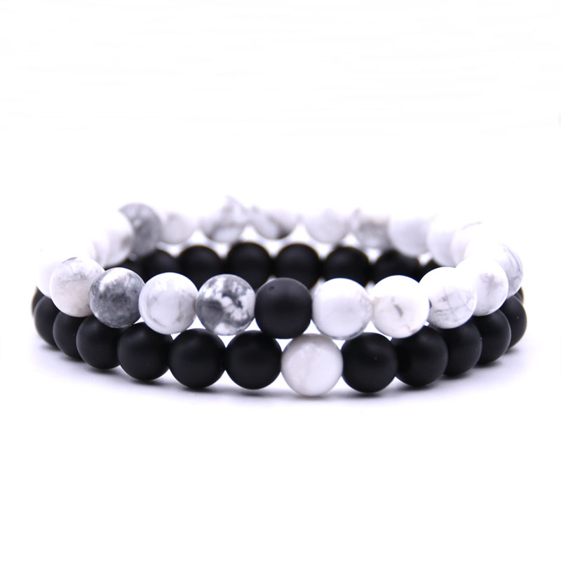 Love Couples Distance Bracelet Classic Natural Stone White And Black Yin Yang Beaded Bracelets For Men Women Best Friend Hot