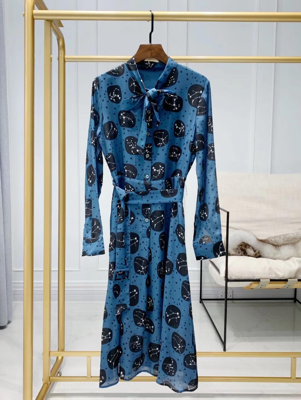 2019 printemps et été grande taille bleu soie longue robe femmes Vintage droite géométrique ceintures Empire livraison gratuite