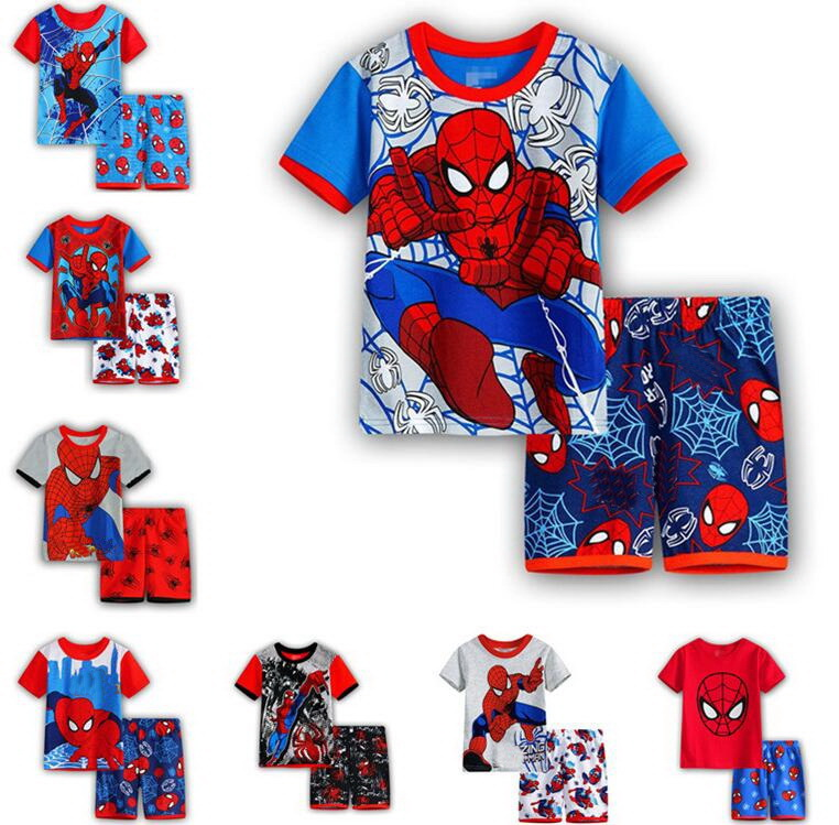 Spiderman Batman Superman Kids Clothes Baby Boys Short Sleeve Cotton Pajamas PJS Childrens Sleepwear Pyjamas Pijamas Sets SP130(China)