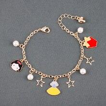dongsheng Snow White Bracelets Cute Princess Dress Gold Star Heart Pearls Pendant Charm Chain Bracelet Bangle for Women Girl-25
