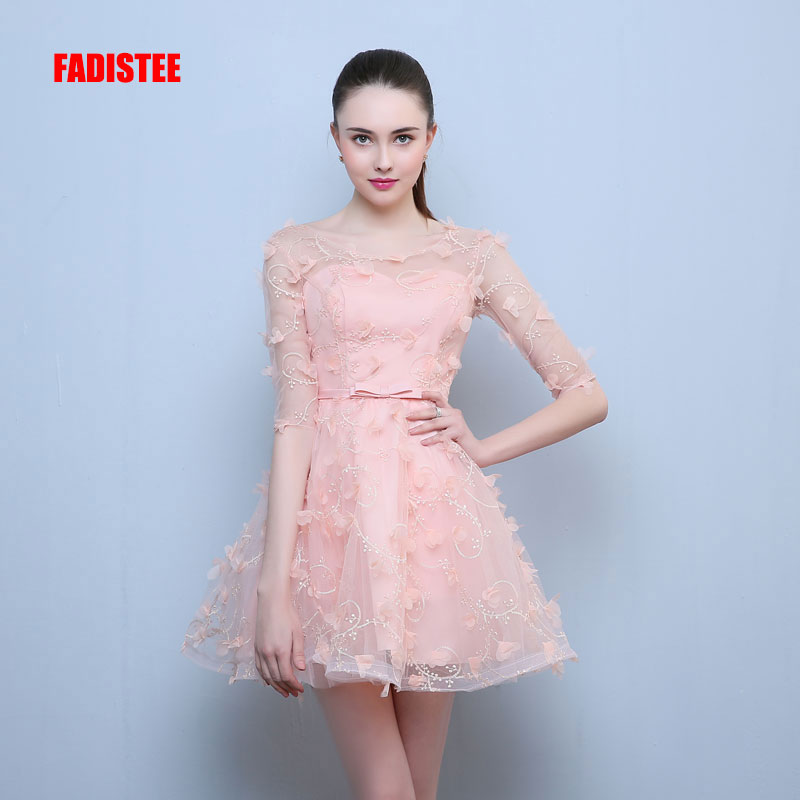 FADISTEE New Arrival Elegant Short Dress Prom Party Dresses O-neck Formal Dress Lace Half Sleeves Simple Evening Dress