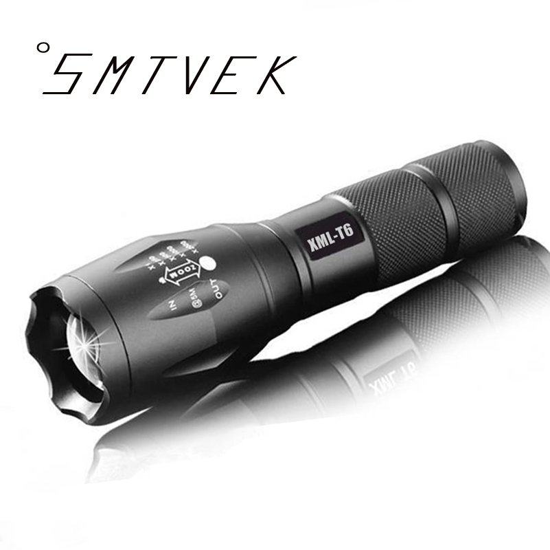100% Authentic E17 6000 Lumens 5-Mode CREE XM-L T6 LED Flashlight Zoomable Focus Torch by 1*18650 or 3*AAA Free shipping 100% authentic e17 6000 lumens 5 mode cree xm l t6 led flashlight zoomable focus torch by 1 18650 or 3 aaa free shipping