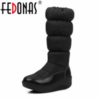 FEDONAS Russia Keep Warm Women Snow Boots Zipper Mid Calf Boots Thick Fur Plush Platforms Down