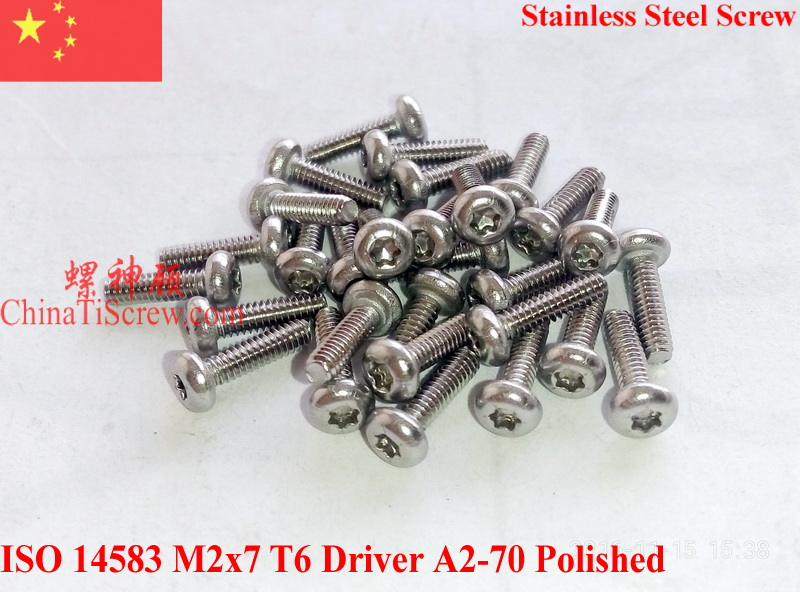 Stainless Steel Screws M2x7 ISO 14583 Pan Head Torx T6 Driver A2-70 Polished ROHS 100 pcs