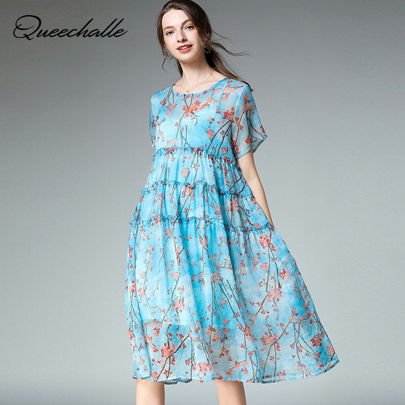 2 Piece Set Summer Dress Women Retro Floral Print A line Dress Ruffles Elegant Dress Female XL   4XL Plus Size Dress Vestidos-in Dresses from Women's Clothing    1
