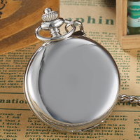 Unique Silver Smooth Douple Open Face Mechanical Pocket Watch FOB Chain Hollow Skeleton Roman Number Steampunk Women Men Watches