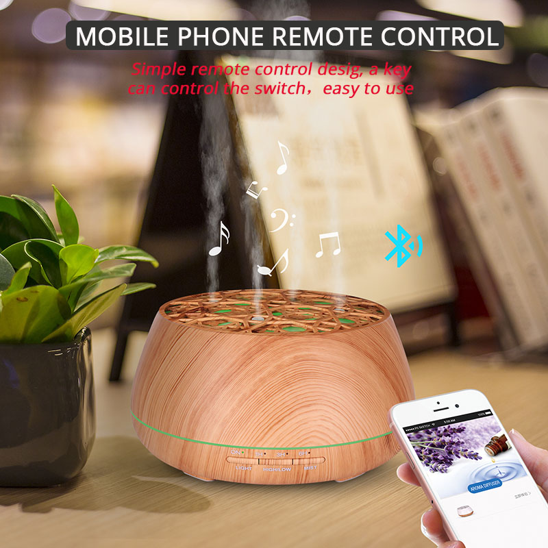 400ml Wood Grain Ultrasonic Aroma Essential Oil Diffuser With Bluetooth Wireless Music Speaker Timer Aromatherapy Air Humidifier