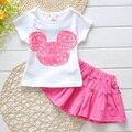 Мода конфеты цвет девушки комплект одежды детские комплект хлопка 2016 девочка установить мода мультфильм принцесса футболки + юбки устанавливает