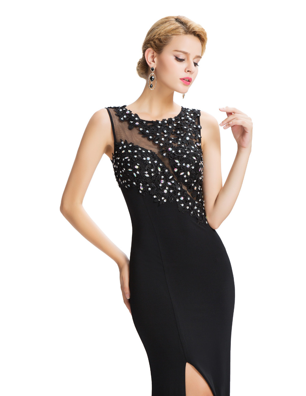 Grace Karin Sleeveless Black Mermaid Evening Dresses Floor Length Elegant Long Formal Dresses Robe De Soiree Sexy Evening Gowns 12