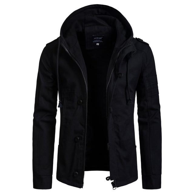 ed4ee499f031 European Size 2018 Autumn Winter New Men's Hooded Cotton Jacket Cardigan Coat  Jaqueta Masculina Streetwear Male Clothing Fashion