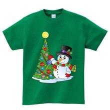 New Christmas Baby Girls Boys T Shirts Kids Cotton T-Shirts Santa Claus Tees Summer Tops tee camiseta 3T-8T  NN