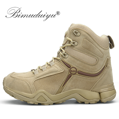 BIMUDUIYU Men Quality Brand Military Boots Tactical Desert Combat Boats Army Work Shoes Leather Antiskid Boots Men Sneakers Lahore