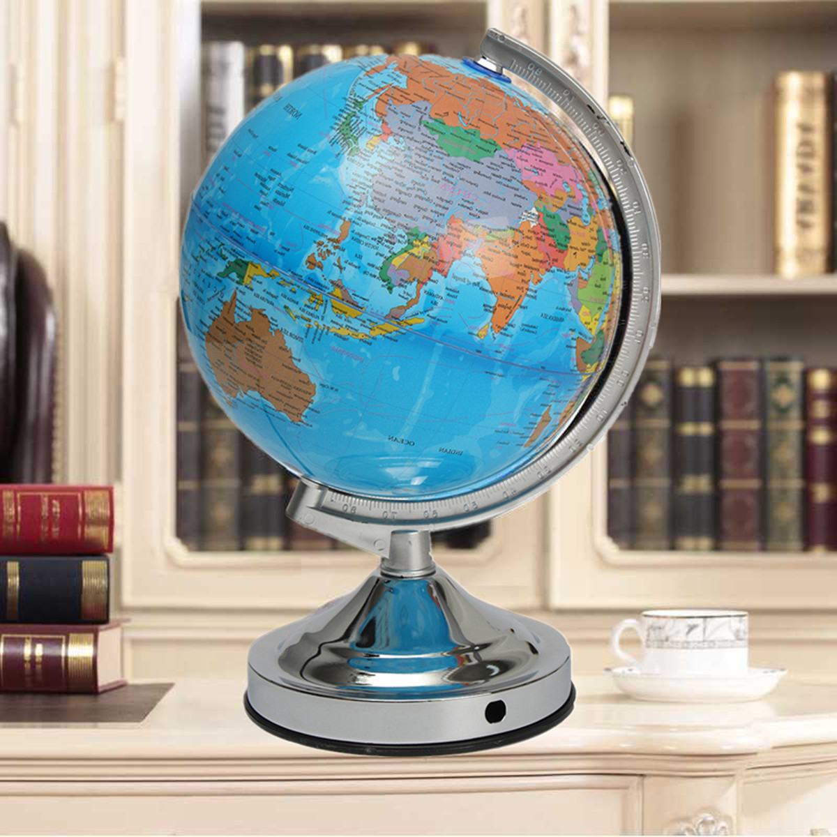 Illuminated Blue Ocean World Earth Globe Geography Map Rotating With Night Light Desktop Decor for Home School Office EU Plug new led world map world globe rotating swivel map of earth geography globe figurines ornaments birthday gift home office decor