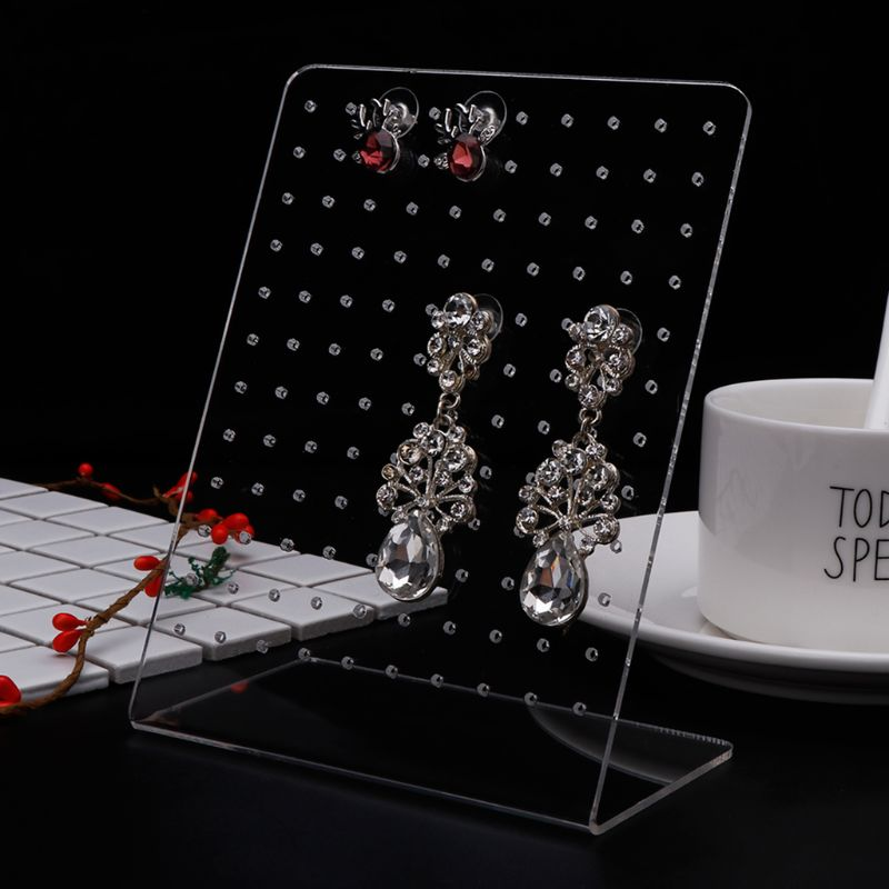 Jewelry Shelf Display Rack Stand L Shape For Ear Stud Earrings 120 Slots Holder Bracket Boutique Decoration Storage Organizer Ac