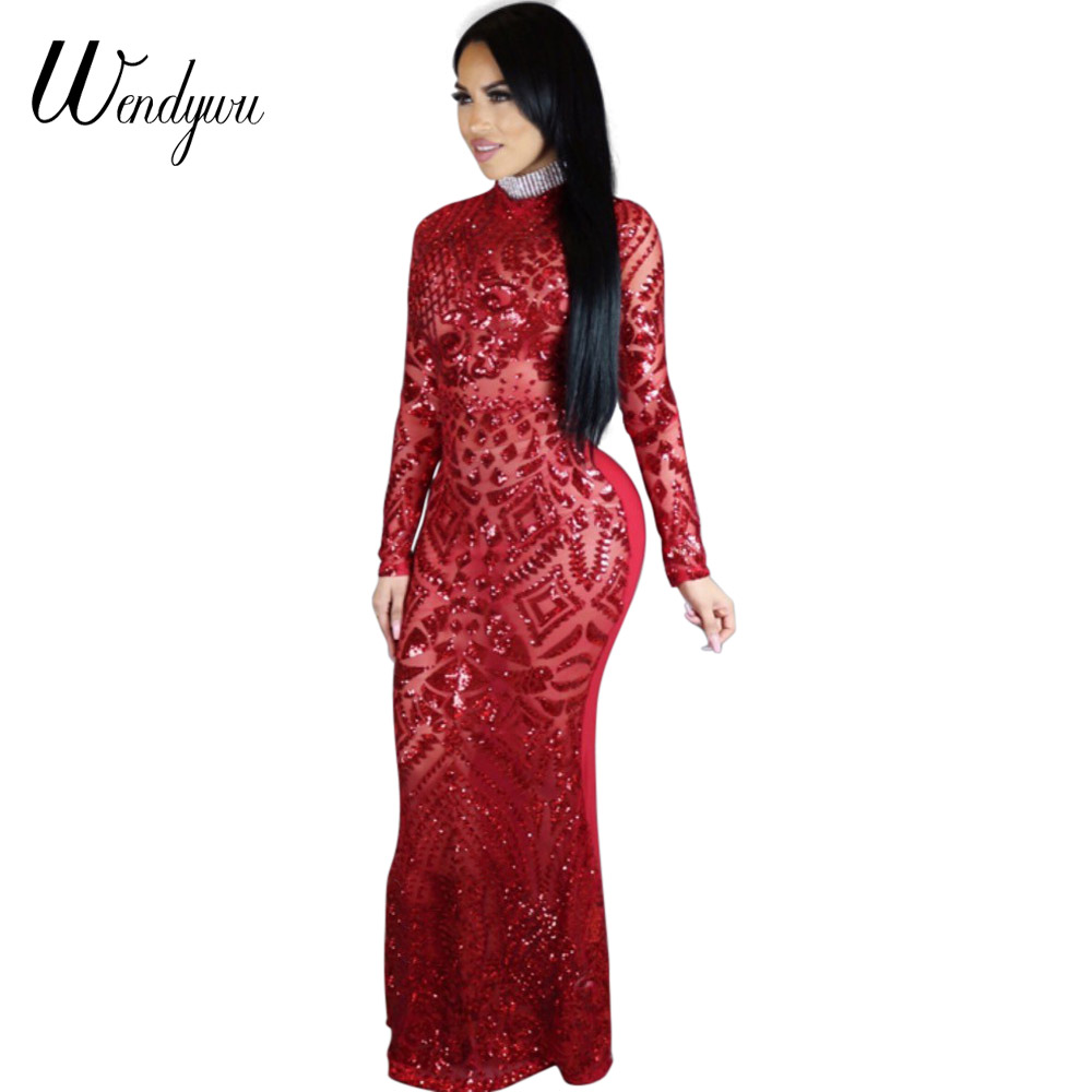 Wendywu New Special Design Mesh Patchwork Sequined Long Sleeve Red Mermaid Long Dress