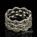 JENIA White Gold Plated Marcasite Man and Women Vintage Ring XR241