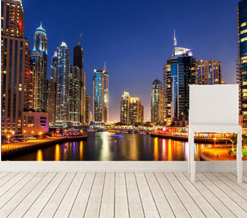 Dubai Skyscraper Rivers Night City Modern Wallpaper Designliving Room Sofa