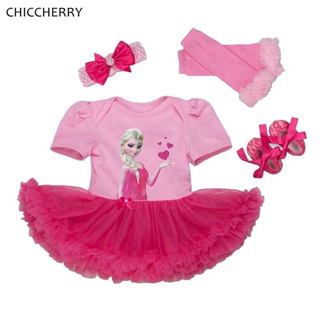 Bebé de color rosa Princesa Vestido de Encaje Calentadores de La Pierna de Zapatos Recién Nacido Mameluco Diadema Tutu Establece Niña Ropa para niños pequeños Trajes de Cumpleaños