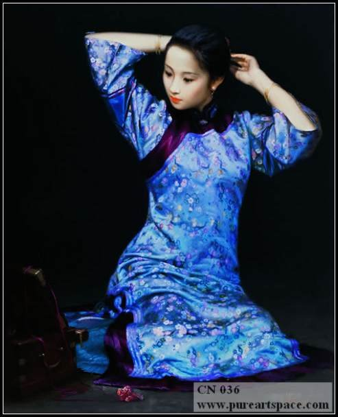 Elegant Qing's woman - Hand Painted Traditional Women in Qing Dynasty Chinese Oil Painting For Wall