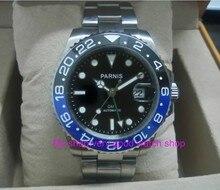40MM PARNIS GMT Automatic Self-Wind movement blue&black Ceramic bezel Sapphire Crystal luminous men's watch gn02 GDDF55
