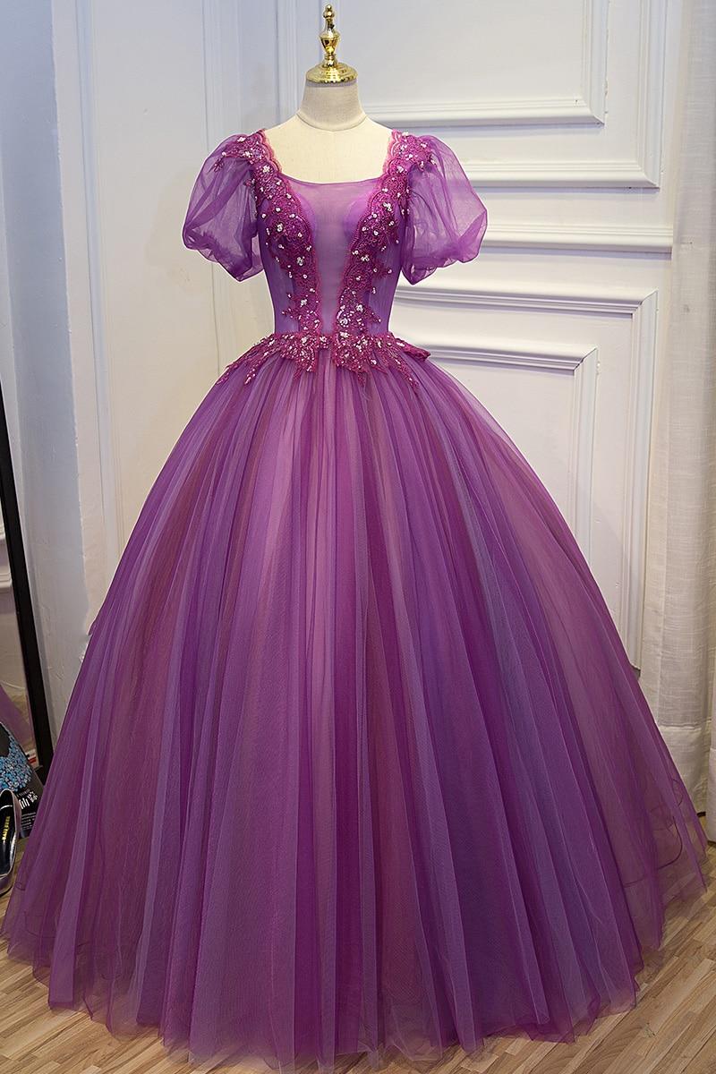 웃 유100%real purple beading embroidery lace bubble sleeve ball gown ...