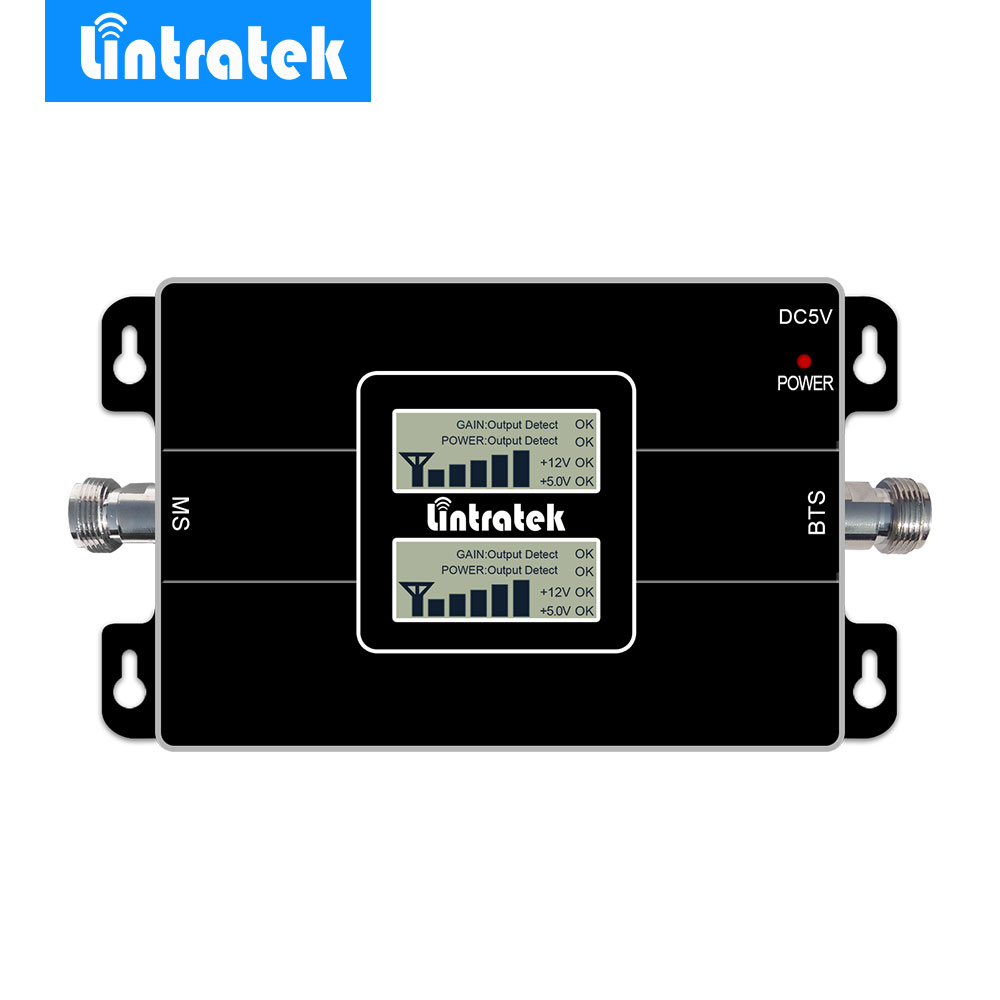 2017 NEUE Lintratek Dual LCD Displays 3G GSM Signal Repeater 900 MHz UMTS 2100 MHz 2G 3G dual Band Handy Signal Booster #50