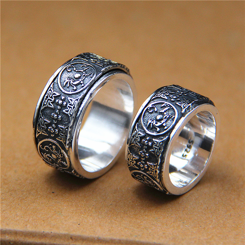 2018 Special Offer Real Anel Feminino Rosefinch Tsing Lung Ring Thai Restoring Ancient Ways Is Four Great God Beast Rotating 2018 direct selling anel feminino thai restoring ancient ways leading mosaic unique ring wholesale corundum man with ambition