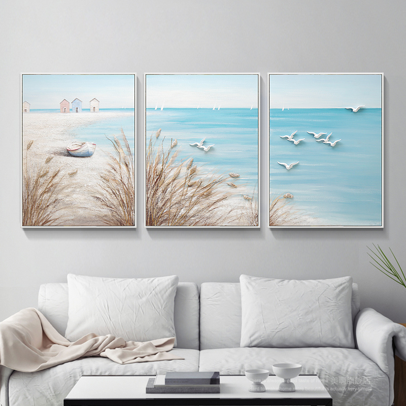 Bricolage 5D diamant peinture plein forage bord de mer paysage Triple peinture broderie point de croix Kits mosaïque cadeau décor à la maison