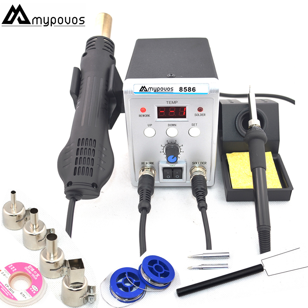 MYPOVOS 750W 8586 2 In 1 digital ESD Hot Air Gun Soldering Station Welding Solder Iron For IC SMD Desoldering Rework station220V esd safe 75w soldering handpiece t245a solder iron handle for di3000 intelligent soldering station