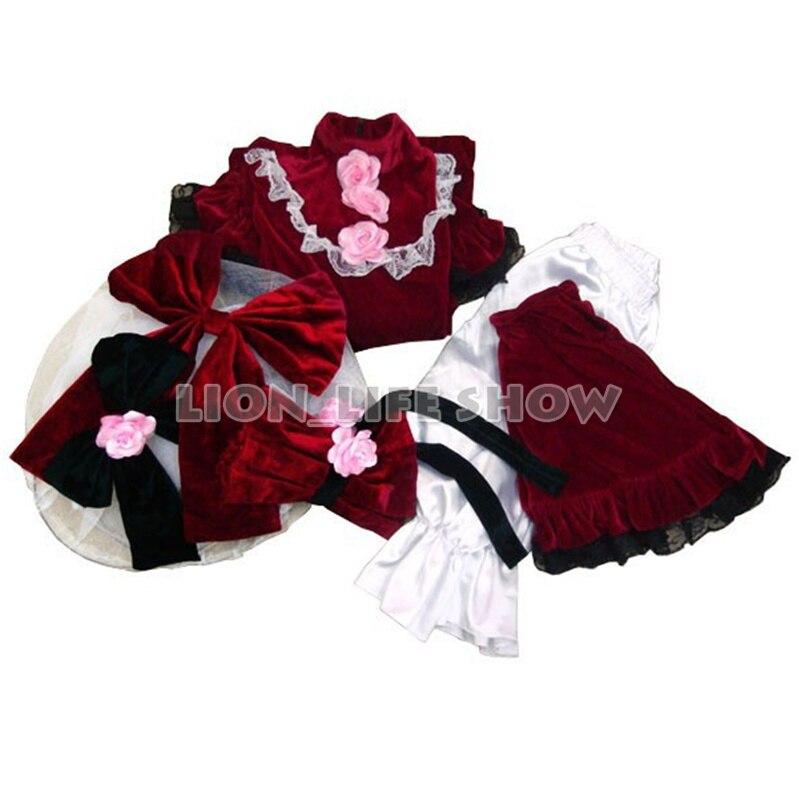 Rozen Maiden Shinku Lolita dress Cosplay Costume Dress+pannier+short pants Little Red Riding Hood
