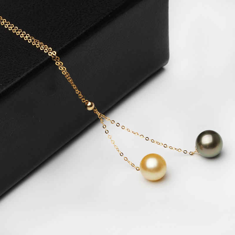 Black Round Tahiti Pearl Pendant For Women,Real Wedding Gold South Sea Pearl Necklace Birthday Gift