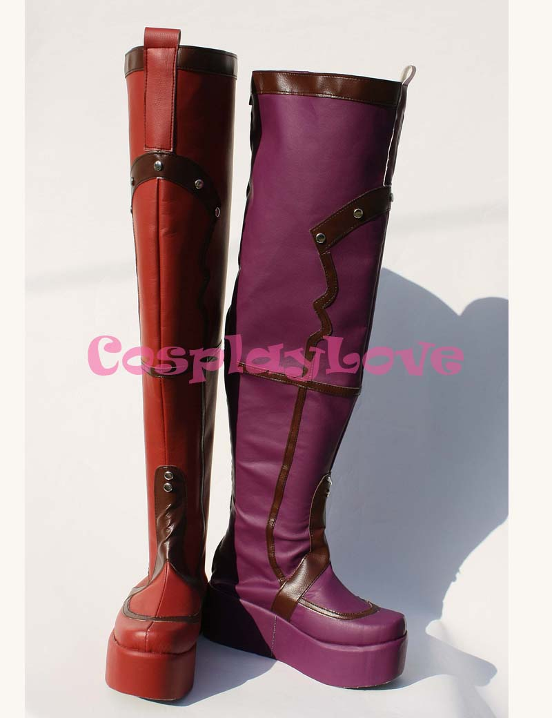 Newest Custom Made American Movie Purple and Red Batman:Arkham Asylum Harley Quinn Cosplay Shoes Long Boots For Halloween