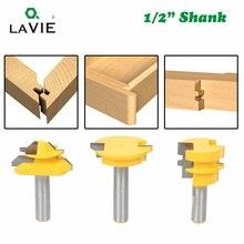 "LAVIE 3pcs 12mm 1/2"" Shank Tenon Router Bits Set Drawer Molding 45 Degree Lock Miter Bit Glue Joint Wood Milling Cutter MC03130"