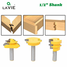 "LAVIE 3pcs 12mm 1/2 ""Shank Tenon Router Bits Set Lade Molding 45 Graden Lock Mijter Bit Lijm gezamenlijke Hout Frees MC03130"