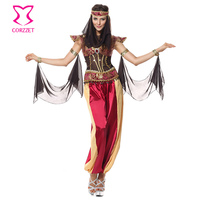Corzzet Red Sequin Long Pants Burlesque Halloween Greek Goddess Costume Athena Sexy Queen Cospaly