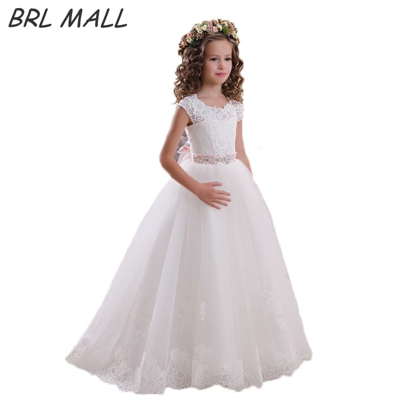 Cheap White Cap short Sleeves   Flower     Girl     Dress   with Bow Beaded Lace first communion   dresses   for   girls   Ball Gown vestido daminha