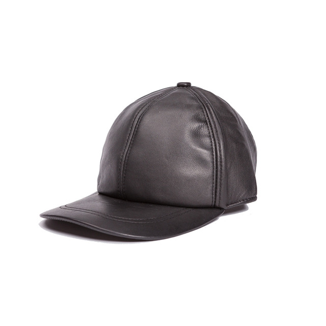 Genuine Leather hat genuine sheepskin hat classic style baseball cap  adjustable for men black hats Free Shipping 1cd6c8b852ce