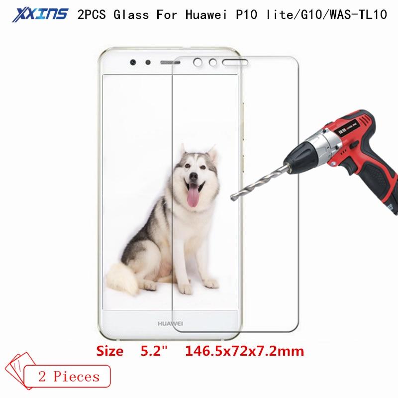 Xxins 2 PCS P10lite Ultrafinos Protetor de Tela película Protetora de Vidro Temperado Para Huawei para G10 WAS-TL10 NOVA lite 5.2 polegada