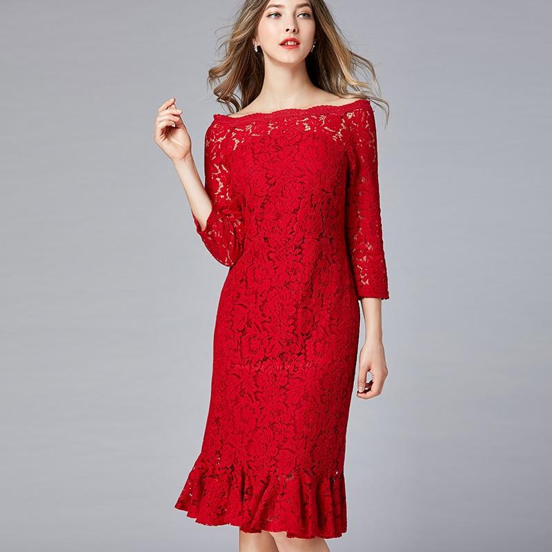 2019 Spring Hollow Lace Dresses Plus Size Slash Neck