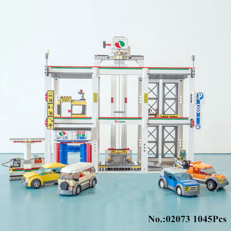 H&HXY IN STOCK 02073 Genuine 1045Pcs Assemblage City Series The City Garage Set Building Block Bricks Lepin DIY Toy As Boy Gift