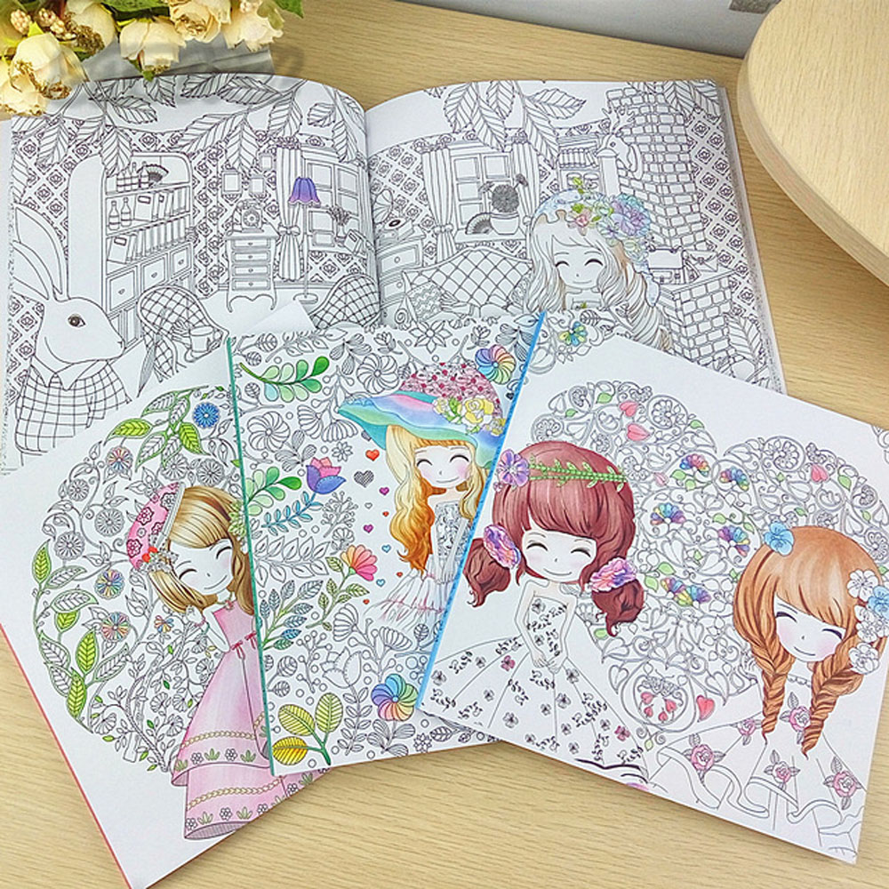 100Pages Beautiful Girl Colouring Book Coloring Book For Relieve Stress Kill Time Graffiti Painting Drawing Book 215mm X 215 Mm